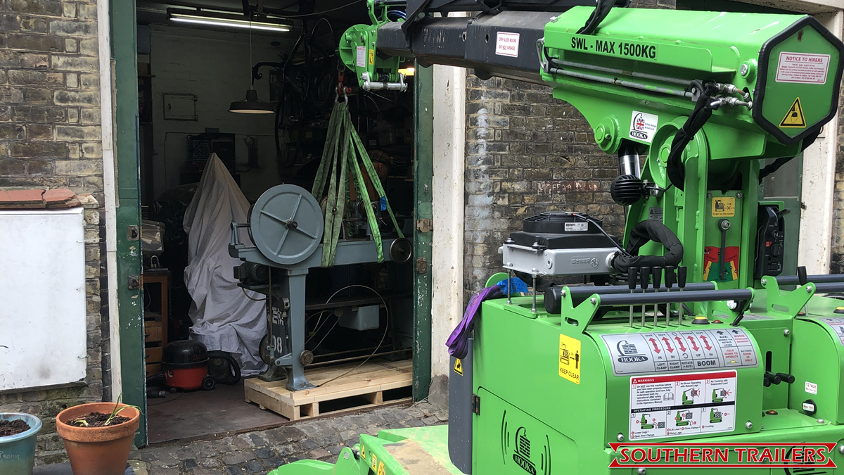 4 Mini tracked crane installing 800kg lathe that had been transported from Brighton to Central London