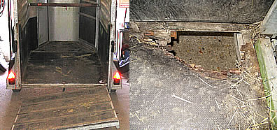 Trailer Repairs - A horsebox with a rotten floor, not good!