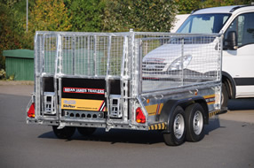 Southern Trailers -  Brian James CarGo Shifter Trailer rear view with cage.